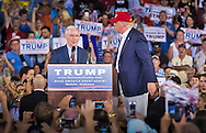 Mobile, Ala., on August 21, 2015, U.S. Senator Jeff Sessions endorses  Donald Trump on stage at a rally at Ladd-Peebles Stadium.
