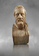 Roman marble sculpture bust of Herodotus, 3rd Century AD from an original early 4th century BC Hellanistic Greek original, inv 6146, Naples Museum of Archaeology, Italy ..<br /> <br /> If you prefer to buy from our ALAMY STOCK LIBRARY page at https://www.alamy.com/portfolio/paul-williams-funkystock/greco-roman-sculptures.html . Type -    Naples    - into LOWER SEARCH WITHIN GALLERY box - Refine search by adding a subject, place, background colour, etc.<br /> <br /> Visit our ROMAN WORLD PHOTO COLLECTIONS for more photos to download or buy as wall art prints https://funkystock.photoshelter.com/gallery-collection/The-Romans-Art-Artefacts-Antiquities-Historic-Sites-Pictures-Images/C0000r2uLJJo9_s0