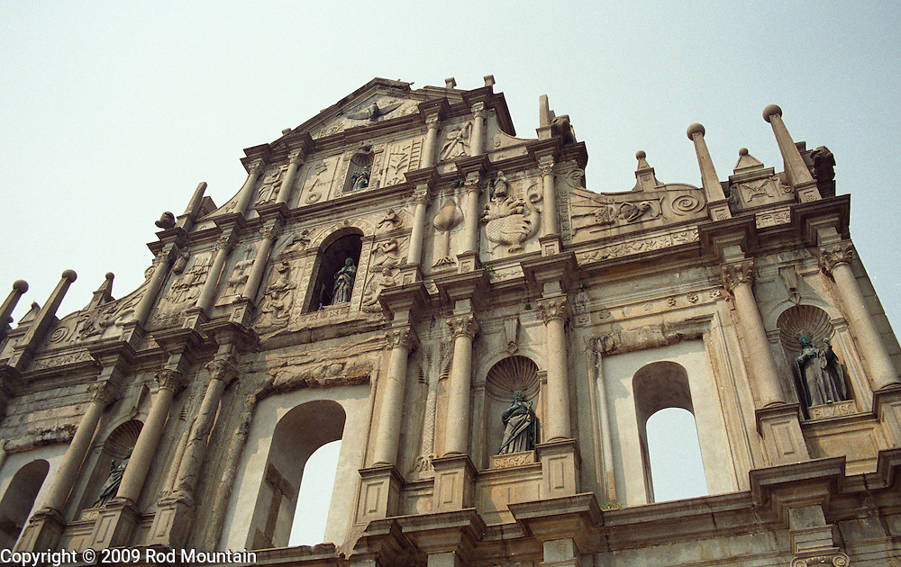 The afternoon sun shines on the facade of what was once St. Paul's Church in Macau.