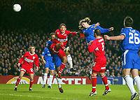 Photo: Scott Heavey.<br /> Chelsea v VFB Stuttgart. Champions League, 5th Round, Second Leg. 09/03/2004.<br /> Hernan Crespo leaps highest to win a header from a corner