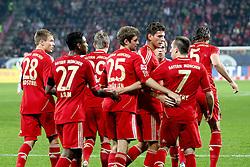 06.11.2011, SGL Arena, Augsburg, GER, 1.FBL, FC Augsburg vs. FC Bayern Muenchen, im Bild  Jubel nach dem 0-1 durch Mario Gomez (Bayern #33) mit David Alaba (Bayern #27)  Holger Badstuber (Bayern #28) Toni Kroos (Bayern #39) Thomas Mueller (Bayern #25) Franck Ribery (Bayern #7) // during the match  FC Augsburg vs. FC Bayern Muenchen , on 2011/11/06, SGL Arena, Augsburg, Germany, EXPA Pictures © 2011, PhotoCredit: EXPA/ nph/  Straubmeier       ****** out of GER / CRO  / BEL ******