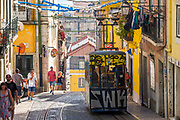 Funicular - Elevador da Bica with graffiti carrying local people and tourists climbs steep hill in City of Lisbon, Portugal