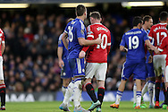 John Terry, the Chelsea captain marks Wayne Rooney, the Manchester United captain. Barclays Premier league match, Chelsea v Manchester Utd at Stamford Bridge in London on Sunday 7th February 2016.<br /> pic by John Patrick Fletcher, Andrew Orchard sports photography.
