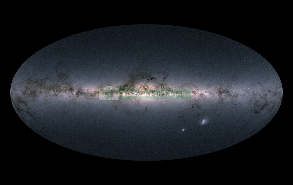 October 2, 2018 - Space - A team of astronomers using the latest set of data from ESA's Gaia mission to look for high-velocity stars being kicked out of the Milky Way were surprised to find stars instead sprinting inwards Ð perhaps from another galaxy. In April, ESA's stellar surveyor Gaia released an unprecedented catalogue of more than one billion stars. Astronomers across the world have been working ceaselessly over the past few months to explore this extraordinary dataset, scrutinizing the properties and motions of stars in our Galaxy and beyond with never before achieved precision, giving rise to a multitude of new and intriguing studies. PICTURED: April 2018: Gaia's all-sky view of our Milky Way Galaxy and neighbouring galaxies, based on measurements of nearly 1.7 billion stars. (Credit Image: © ESA via ZUMA Wire/ZUMAPRESS.com)