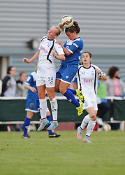 Hayley Ladd of Bristol Academy battles for the high ball with Chloe Peplow of Birmingham City Ladies  - Mandatory byline: Dougie Allward/JMP - 07966386802 - 29/08/2015 - FOOTBALL - Stoke Gifford Stadium -Bristol,England - Bristol Academy Women FC v Birmingham City Ladies - FA WSL Continental Tyres Cup