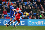 Joe Bennett of Cardiff city (l) challenges Adama Traore of Middlesbrough. EFL Skybet championship match, Cardiff city v Middlesbrough at the Cardiff city Stadium in Cardiff, South Wales on Saturday 17th February 2018.<br /> pic by Andrew Orchard, Andrew Orchard sports photography.