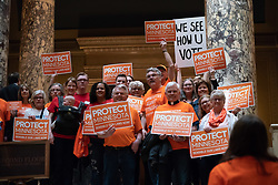 April 26, 2018 - St. Paul, Minnesota, USA - Members of the group Protect Minnesota stood outside the Senate Chambers as Senators entered.  The group is calling for sensible gun laws at the Capitol which a recent Star Tribune poll said most Minnesotans support.  The Senate was expected to debate the issue Thursday as part of an omnibus bill.        ] GLEN STUBBE Â¥ glen.stubbe@startribune.com   Thursday, April 26, 2018     ..MN (Credit Image: © Glen Stubbe/Minneapolis Star Tribune via ZUMA Wire)