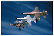 F-5E in flight formation, air-to-air