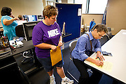 MADISON, WI - JUNE 11, 2014: Renee Currie and Shari Roll fill out paperwork to receive their official certificate of marriage at the Dane County Register of Deeds. Currie and Roll were the first same sex couple to be legally wed in the state of Wisconsin on Friday, June 6, 2014.