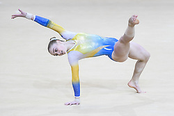 October 27, 2018 - Doha, Qatar - VALERIIA OSIPOVA from Ukraine competes on the floor exercise during the second day of preliminary competition held at the Aspire Dome in Doha, Qatar. (Credit Image: © Amy Sanderson/ZUMA Wire)