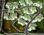 Aerial view of a townhome planned unit development for a construction company