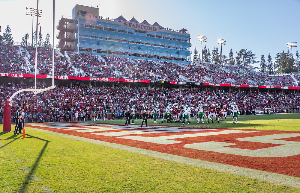 PALO ALTO, CA - OCTOBER 2:  A general view of Stanford Stadium as Joshua Karty #43 of the Stanford Cardinal kicks an extra point during overtime of an NCAA Pac-12 college football game against the Oregon Ducks on October 2, 2021 at Stanford Stadium in Palo Alto, California.  (Photo by David Madison/Getty Images)