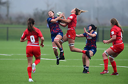 Alisha Butchers of Bristol Bears Women competes with Sophie de Goede of Saracens Women - Mandatory by-line: Paul Knight/JMP - 28/11/2020 - RUGBY - Shaftesbury Park - Bristol, England - Bristol Bears Women v Saracens Women - Allianz Premier 15s