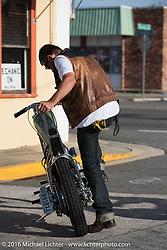 Scott Hoepker (Chemical Candy) with a Jim Harper built (Jim's Choppers) custom Harley-Davidson Shovelhead at the Biltwell Bash at Robison's Cycles. Daytona Bike Week 75th Anniversary event. FL, USA. Friday March 11, 2016.  Photography ©2016 Michael Lichter.