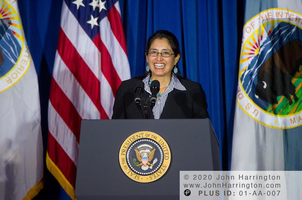 U.S. Department of the Interior Solicitor, Hilary Tompkins, addresses the leaders of the 565 federally recognized Native American tribes at the 2011 White House Tribal Nations Conference hosted by President Barack Obama. The 2011 White House Tribal Nations Conference was held at the U.S. Department of the Interior in Washington, DC on December 2nd, 2011.