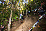Rachel Atherton, of Great Britain, races to the win in the elite women's class at theduring the Crankworx Rotorua Downhill presented by iXS inaugural Crankworx Rotorua event held at Skyline Rotorua, Rotorua, New Zealand, March 25-29, 2015.