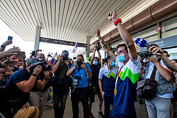 Primoz Roglic, Olympic gold medalist with during his arrival from Tokyo 2020 on July 30, 2021 in Airport Joze Pucnik, Brnik, Ljubljana, Slovenia. Photo by Matic Klansek Velej / Sportida