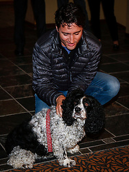 Prime Minister Justin Trudeau pets a dog named Berkley as he arrives at a Liberal Party cabinet retreat in Kananaskis, AB, Canada on Sunday, April 24, 2016. Photo by Jeff McIntosh/CP/ABACAPRESS.COM  | 544539_002 Kananaskis Canada