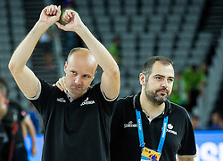 Jure Zdovc, head coach of Sloveniaa dn Stefanos Dedas, assistant coach of Slovenia celebrate after winning during basketball match between Slovenia and Macedonia at Day 6 in Group C of FIBA Europe Eurobasket 2015, on September 10, 2015, in Arena Zagreb, Croatia. Photo by Vid Ponikvar / Sportida