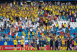 July 7, 2018 - Samara, Russia - 180707 Players and leaders of Sweden looks dejected while reciognizing the fans after loosing the FIFA World Cup quarter final match between Sweden and England on July 7, 2018 in Samara..Photo: Petter Arvidson / BILDBYRÃ…N / kod PA / 92083 (Credit Image: © Petter Arvidson/Bildbyran via ZUMA Press)
