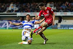 Callum O'Dowda of Bristol City is challenged by James Perch of Queens Park Rangers - Rogan Thomson/JMP - 18/10/2016 - FOOTBALL - Loftus Road Stadium - London, England - Queens Park Rangers v Bristol City - Sky Bet EFL Championship.