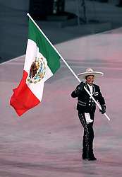 Mexico flag-bearer German Madrazo during the Opening Ceremony of the PyeongChang 2018 Winter Olympic Games at the PyeongChang Olympic Stadium in South Korea.