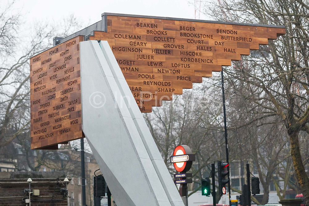 The Stairway to Heaven memorial is seen next to Bethanal Green Tube station entrance in London, England, on March 3rd, 2018 marking the 75th anniversary of the Bethnal Green World War 2 tube disaster on 3rd March 1943.  On the night of the disaster a crowd of people were waiting to enter the underground air raid shelter when the deafening sound of a new anti-aircraft rocket was fired for the first time from Victoria Park. A woman with a child fell and others tumbled over her and within seconds the whole staircase was a tangled mass of 300 trapped people. 73 people died including 84 women, 62 children and 27 men.