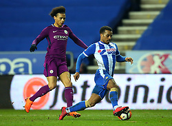 Nathan Byrne of Wigan Athletic takes on Leroy Sane of Manchester City - Mandatory by-line: Robbie Stephenson/JMP - 19/02/2018 - FOOTBALL - DW Stadium - Wigan, England - Wigan Athletic v Manchester City - Emirates FA Cup fifth round proper