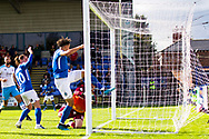 Macclesfield Town defender Theo Vassell score sat goal                                                                                  during the EFL Sky Bet League 2 match between Macclesfield Town and Crawley Town at Moss Rose, Macclesfield, United Kingdom on 7 September 2019.