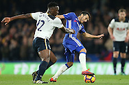 Pedro of Chelsea is intercepted by Victor Wanyama of Tottenham Hotspur. Premier league match, Chelsea v Tottenham Hotspur at Stamford Bridge in London on Saturday 26th November 2016.<br /> pic by John Patrick Fletcher, Andrew Orchard sports photography.