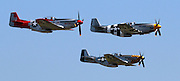 """A restored P-51B Mustang that flew in the D-Day invasion flies over Paine field on the 70th anniversary of D-Day. The other two planes are P-51D Mustangs, but weren't involved in D-Day. The D-Day plane has """"invasion stripes"""" which let allied planes know it was a friendly.<br /> <br /> Ken Lambert / The Seattle Times"""