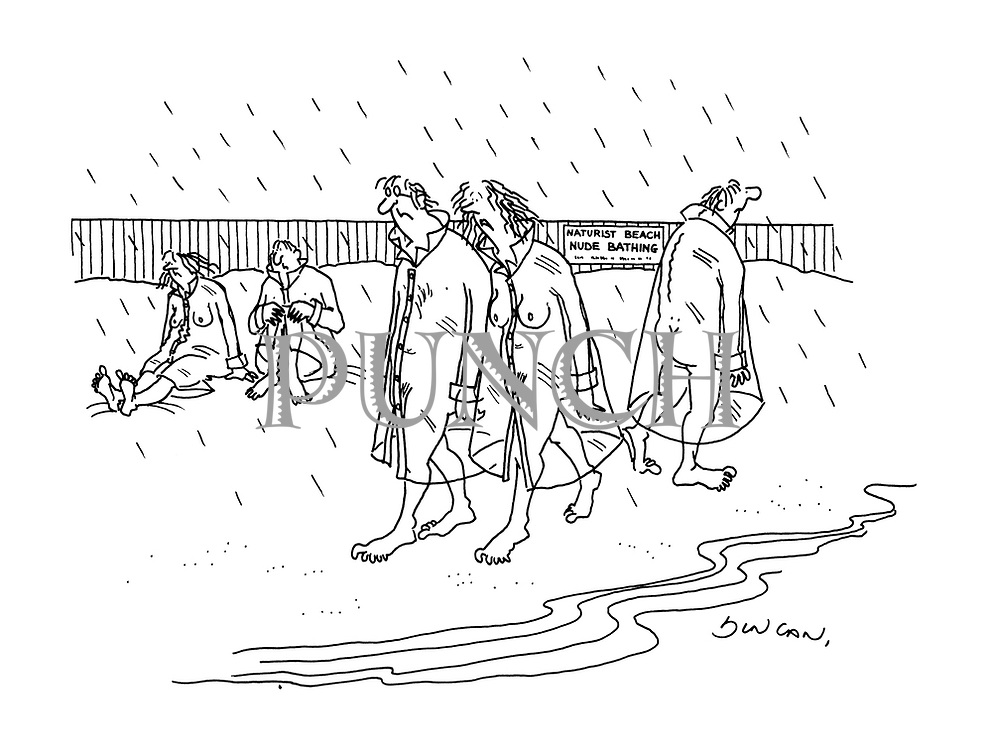 (nudists walking on the beach in rainy weather wearing see-through rain coats)