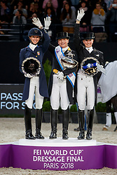 GRAVES Laura (USA), WERTH Isabell (GER), VON BREDOW-WERNDL Jessica (GER)<br /> Paris - FEI World Cup Finals 2018<br /> FEI World Cup Dressage Freestyle/Kür<br /> www.sportfotos-lafrentz.de/Stefan Lafrentz<br /> 14. April 2018