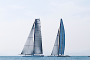 Race 1 33rd Americas Cup 2010, winner of the race BMWO, Alinghi recives a penalty at the start, manages to start before BMWO, the wing from BMWO give them a important speed advantage that they can recover shortly after the start. (c) Kaufmann/Forster go4image.com, AC > Sailing Team > Sailing > Nautic, Alinghi > AC > Sailing Team > Sailing > Nautic, America's Cup, BMW Oracle > AC > Sailing Team > Sailing > Nautic, Copyright Protected, Distributed by go4image, Editorial use only, Europe, Sailing Team > Sailing > Nautic, Spain, Valencia