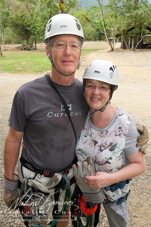Tom and Heather ready for the zip line ride. Costa Rica.
