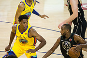 Golden State Warriors center Damian Jones (15) defends Milwaukee Bucks forward Khris Middleton (22) at Oracle Arena in Oakland, Calif., on March 29, 2018. (Stan Olszewski/Special to S.F. Examiner)