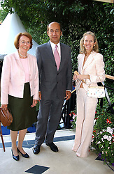 Left to right, MARIA MEINL, the Dutch Ambassador COUNT & COUNTESS JAN DE MARCHANT ET D'ANSEMBOURG at a garden party at the Goring Hotel, Beeston Palce, London SW1 to celebrate the unveiling of a bronze bust the late Queen Elizabeth the Queen Mother on 20th July 2004.
