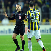 Referee's Mustafa Kamil Abitoglu during their Turkish superleague soccer match Fenerbahce between Gaziantepspor at the Sukru Saracaoglu stadium in Istanbul Turkey on Monday09 January 2011. Photo by TURKPIX