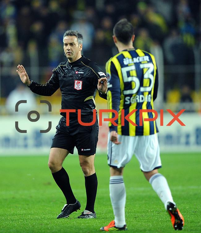 Referee's Mustafa Kamil Abitoglu during their Turkish superleague soccer match Fenerbahce between Gaziantepspor at the Sukru Saracaoglu stadium in Istanbul Turkey on Monday09 January 2011. Photo by TURKPIX