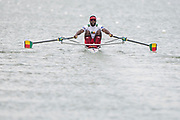 Plovdiv, Bulgaria, 10th May 2019, FISA, Rowing World Cup 1,  BEN M1X, Orivel HINKATI, at the start, of a heat of the Men's Single Sculls, © Peter SPURRIER/Intersport Images,