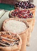 Large bags of spices at a warehouse in Cochin, Kerala, India