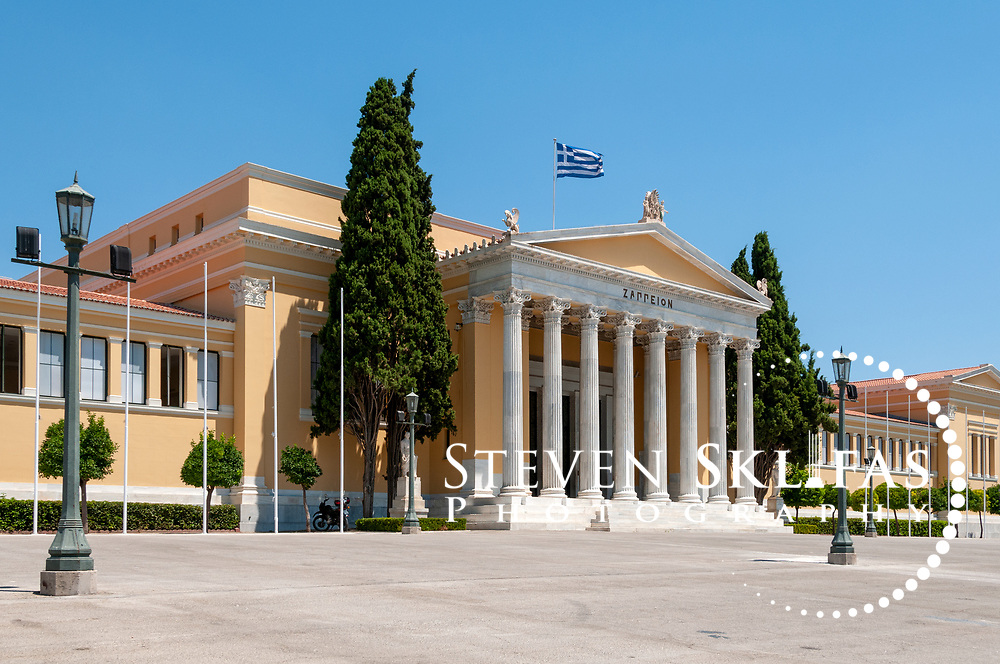 Athens. Greece. View of the attractive neoclassical façade of the Zappeion located at the southern end of the National Gardens in Athens. Designed by Theophil Hansen and constructed from 1874-1888, the building was the first building specially built for the 1896 Olympic Games, in which it was used for the fencing competition. It was also used during the 2004 Olympics as a press and events centre.
