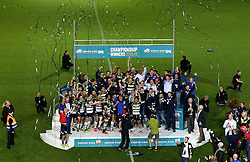 Bristol Rugby celebrate winning the Greene King IPA Championship Play Off FINAL by lifting the trophy- Mandatory byline: Robbie Stephenson/JMP - 25/05/2016 - RUGBY UNION - Ashton Gate Stadium - Bristol, England - Bristol Rugby v Doncaster Knights - Greene King IPA Championship Play Off FINAL 2nd Leg.