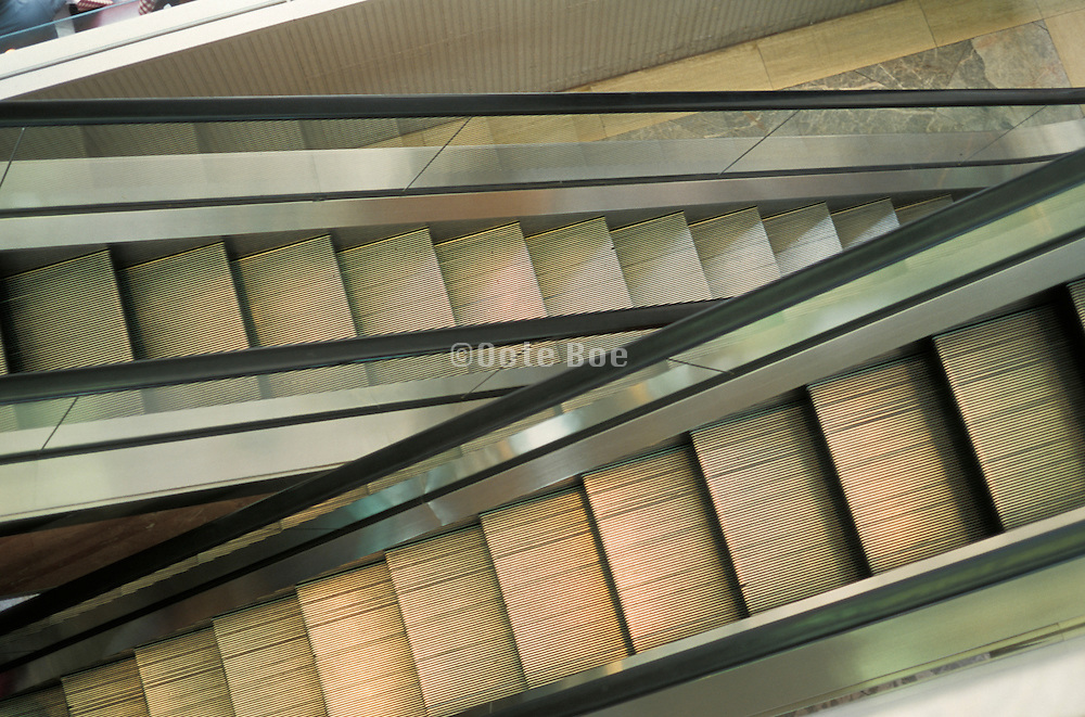 view of escalators from above
