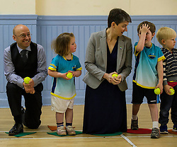 Pictured: Partick Harvie and Maggie Chapman joined in the fun with the children attending the North Merchiston Community Centre.<br /> <br /> Patrick Harvie, Co-Convenor of the Scottish Green Party met children at the Enjoy-a-Ball Holiday camp taking place at the North Merchiston Community Centre ahead of Tuesday's TV debate. Mr Harvie was joined by fellow MSP candidates Andy Wightman, Local Government Spokesperson, Maggie Chapman, Co-convener and Alison Johnston candiate for Lothian to present taxation proposals and answer questions.<br /> <br /> Ger Harley   EEm 29 March 2016