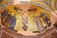 The crusifiction Byzantine mosaic of Nea Moni built by Constantine IX and Empress Zoe after the miraculous appearance of an Icon of the Virgin Mary at the site and inaugurated in 1049. Scene of a terrible sack and massacre of hundreds of Chiots and priests during the Ottoman sack of Chios in reprisal for the 1821 Greek War of Indipendance. Nea Moni monastery, Chios Island, Greece. A UNESCO World Heritage Site. .<br /> <br /> If you prefer to buy from our ALAMY PHOTO LIBRARY  Collection visit : https://www.alamy.com/portfolio/paul-williams-funkystock/chios.html<br /> <br /> Visit our BYZANTINE ART PHOTO COLLECTION for more   photos  to download or buy as prints https://funkystock.photoshelter.com/gallery-collection/Roman-Byzantine-Art-Artefacts-Antiquities-Historic-Sites-Pictures-Images-of/C0000lW_87AclrOk