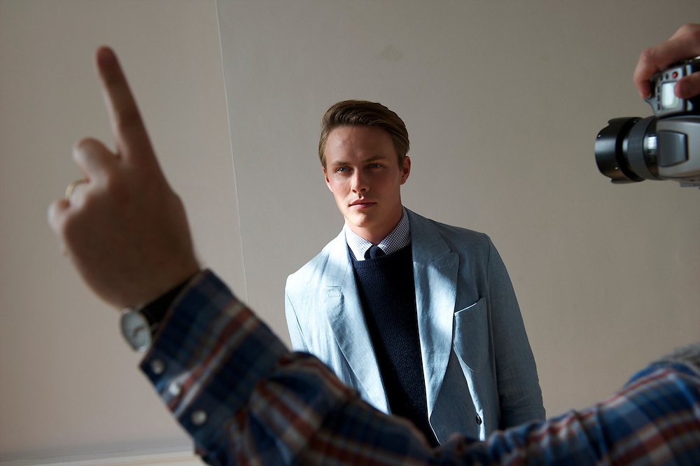 A model poses for a portrait backstage before showing the spring 2011 E Tautz collection in the Naval Board Rooms, Somerset House, London on 22  September 2010.