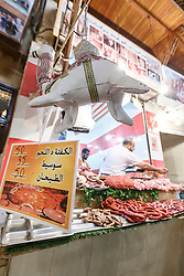 Butcher shop and camel meat, Fes al Bali medina, Fes, Morocco