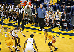 Nov 24, 2018; Morgantown, WV, USA; West Virginia Mountaineers head coach Bob Huggins watches from the bench during the first half against the Valparaiso Crusaders at WVU Coliseum. Mandatory Credit: Ben Queen-USA TODAY Sports