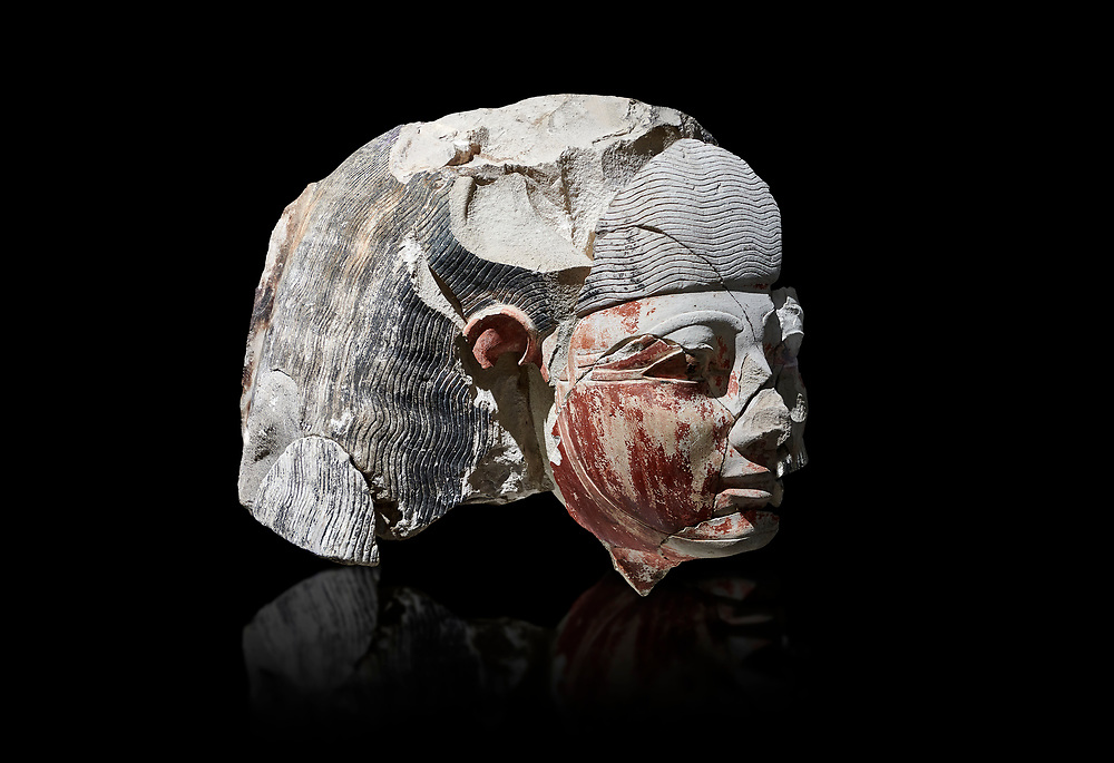 Ancient Egyptian statue head of a monarch, limestone, Middle Kingdom, mis 12th Dynasty, (1900-1850 BC), Qqw el-Kebir, tomb of Ibu. Egyptian Museum, Turin.  black background,<br /> <br /> Since this statue head comes from the tomb of Ibu it is likely that they depict a powerful gosvenor, although the incsription is lost. It can be dated by its style which is close to the statues of Amenemhat II and Sesostris II. Schiaparelli excavations. Cat 4410 & 4414 .<br /> <br /> If you prefer to buy from our ALAMY PHOTO LIBRARY  Collection visit : https://www.alamy.com/portfolio/paul-williams-funkystock/ancient-egyptian-art-artefacts.html  . Type -   Turin   - into the LOWER SEARCH WITHIN GALLERY box. Refine search by adding background colour, subject etc<br /> <br /> Visit our ANCIENT WORLD PHOTO COLLECTIONS for more photos to download or buy as wall art prints https://funkystock.photoshelter.com/gallery-collection/Ancient-World-Art-Antiquities-Historic-Sites-Pictures-Images-of/C00006u26yqSkDOM